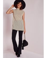 Missguided | Gray High Neck Longline Vest Stone | Lyst