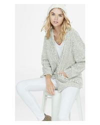 Express | White Fuzzy Sequined Coatigan | Lyst