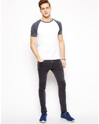 ASOS | Blue T-shirt With Contrast Raglan Sleeves for Men | Lyst