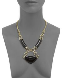Alexis Bittar | Metallic Pop Surrealist Lucite, Black Mother-of-pearl & Crystal Small Bib Necklace | Lyst