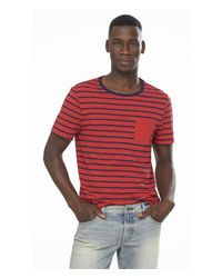 Express | Red Striped Twisted Slub Ringer Pocket Tee for Men | Lyst