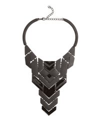 AKIRA - Metallic Geometric Necklace Square Earring Set - Lyst