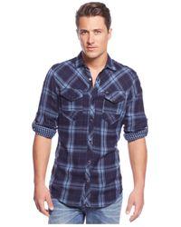 INC International Concepts | Blue Indigo Plaid Shirt for Men | Lyst