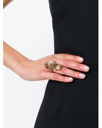 Roberto Cavalli   Metallic Swarovski Crystal Floral Ring   Lyst