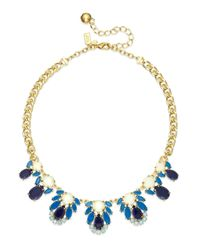kate spade new york | Metallic Gold-tone Blue Stone Graduated Collar Necklace | Lyst