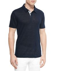 Vince - Blue Linen-knit Polo for Men - Lyst
