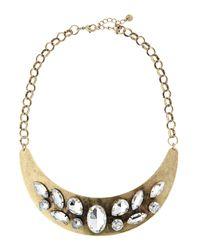 Lydell NYC - Metallic Brass Stone Collar Necklace - Lyst