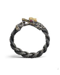 John Hardy - Metallic Mens Naga Braided Dragon Head Bracelet With Ruby for Men - Lyst
