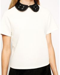 ASOS | Natural Textured T-shirt With Embellished Collar | Lyst