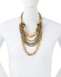 Ashley Pittman | Metallic Johari Bronze & Pyrite Multi-Strand Necklace | Lyst