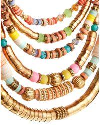 ALDO | Multicolor Malerba Disc Bead Tube Necklace | Lyst