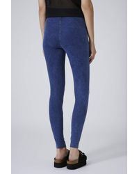 d847d34f28d99 TOPSHOP Washed Deep Blue Denim Leggings in Blue - Lyst