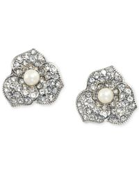 Carolee | Metallic Silver-tone Glass Pearl Floral Clip-on Stud Earrings | Lyst