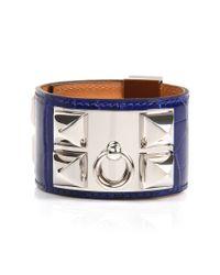 Hermès | Electric Blue Shiny Alligator Collier De Chien Bracelet | Lyst