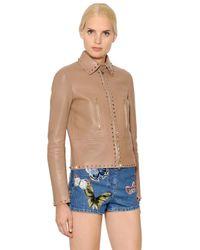 Valentino - Pink Rockstud Leather Jacket - Lyst