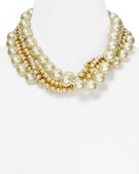 "Kenneth Jay Lane - White Triple Row Mixed Faux-Pearl Necklace, 18"" - Lyst"