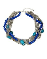 Catherine Stein | Blue Bead And Chain Collar Necklace | Lyst