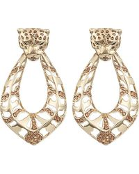 Roberto Cavalli | Metallic Jewelled Panther Earrings - For Women | Lyst