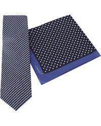 Lanvin | Blue Silk Tie And Pocket Square Set for Men | Lyst