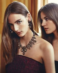 Jose & Maria Barrera | Metallic Gold Plated Crystal Ribbon Bracelet | Lyst