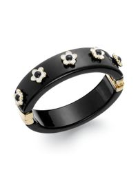 Kate Spade | New York Goldtone Cream Floral Black Bangle Bracelet | Lyst