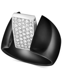 Swarovski | Black Two-Tone Pavè Rotating Ring | Lyst