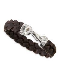 John Hardy - Brown Men's Classic Chain Leather Hook Bracelet for Men - Lyst