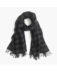 J.Crew | Black Buffalo Check Plaid Scarf for Men | Lyst