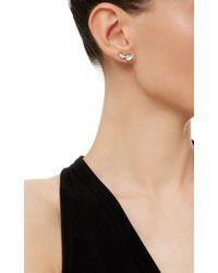 Ryan Storer - White Rhodium Plated Swarovski Crystal Drop Ear Cuff With Stud - Lyst
