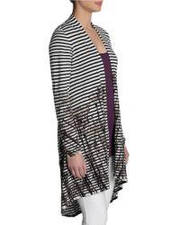 NIC+ZOE - Black Striped Printed Cardigan - Lyst