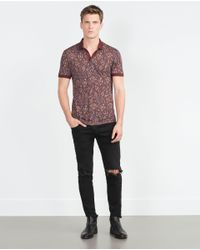 Zara | Purple Paisley Polo Shirt for Men | Lyst