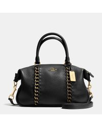 COACH | Black Central Whiplash Leather Satchel | Lyst