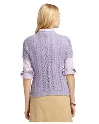 Brooks Brothers | Purple Short-sleeve Cable Knit Crewneck Sweater | Lyst
