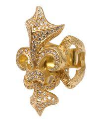 Loree Rodkin   Metallic Yellow Gold Fleur De Lis Ring With White Diamonds   Lyst