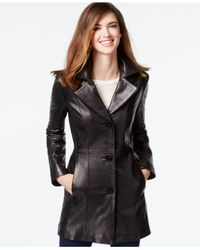 Anne Klein - Black Petite Leather Blazer Jacket - Lyst