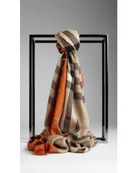Burberry - Orange Animal Print Haymarket Check Scarf - Lyst