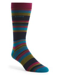 Ted Baker | Blue Stripe Organic Cotton Blend Socks for Men | Lyst