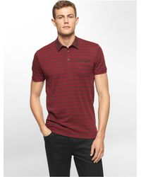 Calvin Klein | Purple White Label Classic Fit Textured Stripe Polo Shirt for Men | Lyst