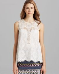 Nicole Miller Artelier | White Top Sleeveless Illusion Neck Lace Tank | Lyst