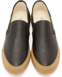 Junya Watanabe - Black Leather Steer Slip-on Sneakers for Men - Lyst