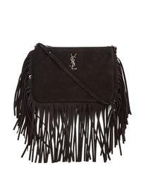 Saint Laurent - Black Monogram Fringed-Suede Cross-Body Bag - Lyst