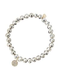 Sydney Evan - Metallic 6mm Faceted Silver Pyrite Beaded Bracelet With Mini Yellow Gold Pave Diamond Disc Charm (made To Order) - Lyst