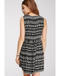 Forever 21 - Black Ikat Print Babydoll Dress - Lyst