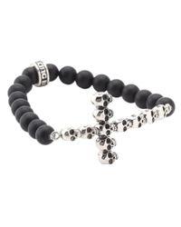 King Baby Studio - Black Onyx Bead Bracelet With Multi Skull Cross for Men - Lyst