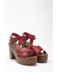 Forever 21 - Red Platform Faux Leather Sandals - Lyst