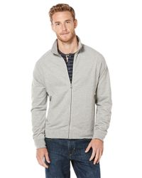 Perry Ellis | Gray Knit Mockneck Jacket for Men | Lyst