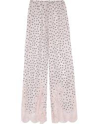 Rosamosario | Pink Dots And Lots Lace-Trimmed Polka-Dot Silk Pajama Pants | Lyst