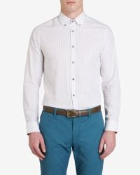 Ted Baker - White Micro Print Shirt for Men - Lyst