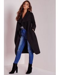 Missguided | Waterfall Coat Long Length Black | Lyst