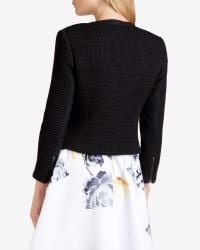 Ted Baker | Black Collarless Textured Jacket | Lyst
